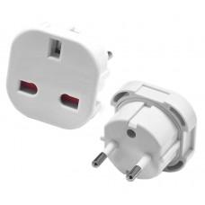 Power socket adapter UK England to Europe Schuko , Active SLIM, White