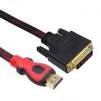 Cablu DVI-D - HDMI Detech, 1.5M, calitate deosebita, dublu ecranat, bobine antiparaziti