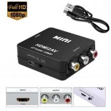Adaptor HDMI la AV, Active, Full HD, convertor HDMI digital la 3 x RCA analog, cu mufa video si sunet audio mama, cablu alimentare USB 5V, compatibilitate: PS4, dvd, receiver, calculator pc, laptop, camera video la televizor model vechi,  AV tv
