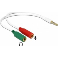 Adaptor Cablu audio Jack 3.5mm 4 pin Tata ( telefon) la 2 x 3.5mm 3 pin Mama (microfon + casti/ boxe) alb, 20cm