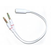 Adapter Cable Jack  2 x 3.5mm 3 pin male (microphone + headphone) to 1 x jack 3.5mm 4 pin femele - 20cm