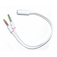 Adaptor Cablu audio Jack 2 x 3.5mm 3 pin Tata (microfon + casti/ boxe) la 1 x jack 3.5mm 4 pin Mama - 20cm