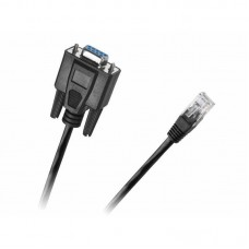 Cablu adaptor DB9 Serial 9 pini RS232 mama la RJ45 retea, Active, convertor rs 232 ethernet, 1.8m