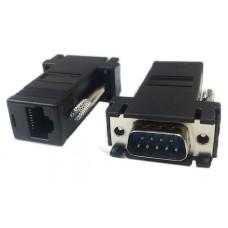 Extensie prelungire Cablu Serial 9 pin, RS 232, prin retea rj45, Active, convertor serial db9 pe distante mari rs232