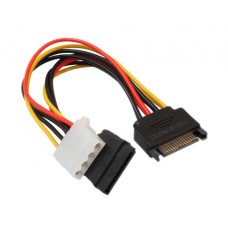 Mixed power adapter cable sata molex, Active, sata 15pin tata to 1 x sata femele and 1 x molex (4pin idea) femele, 20cm