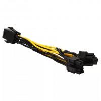 Cablu Active, adaptor alimentare placa video pci-e 6 pini tata la 2 x 6 pini/ 8 pini mama, multiplicator/ prelungitor spliter 6pin mining, extensie pentru sursa, 25cm