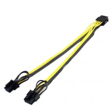 Active cable, PCI-E power adapter 8-pin male to 2 x 6/8 pin femele , 8pin mining splitter / extender, source extension, 25cm