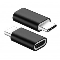 Micro USB Charging Adapter to USB 3.1 Type-C, Active, MicroUSB Power Supply - Type C male, Phone Charger, Black