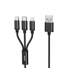 Cablu date/ incarcare 3 in 1, Remax RC-131th, universal, USB 2.0 tata la MicroUsb Type-C si Lightning, 1.2m