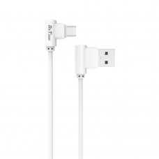Cablu date/ incarcare microUSB 90 grade, Detech, microUSB tata - USB tata, 1m, alb, compatibil tablete si telefoane, calitate deosebita, ambalaj individual