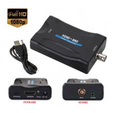 Adaptor HDMI la BNC, Active, Full HD, convertor hdmi digital la bnc analog  cu mufa video si sunet audio mama, cablu alimentare USB 5V, compatibil: laptop, calculator, dvr, camera video, tv, televizor, monitor, placa captura