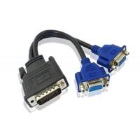 Adaptor DMS-59 tata la dual VGA 15pin Mama, Active, suporta rezolutie full HD, cablu convertor dms59