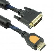 Cablu DVI-D - HDMI Detech, 1.8M, calitate deosebita, dublu ecranat, bobine antiparaziti