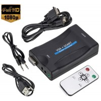Adaptor VGA la Scart cu telecomanda, Active, Full HD, convertor analog video si sunet audio cu mufa mama Vga Euroscart, cablu alimentare USB 5V, compatibilitate: laptop, calculator pc, dvr, tv, videoproiector, televizor