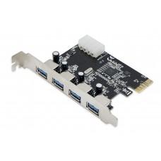 Placa PCI-Express 1.0 adaptor la 4 x USB 3.0, pci-e usb3, ACTIVE