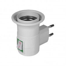 Adaptor priza pentru bec cu dulie E27, Active, curent 250V, stecher si intrerupator