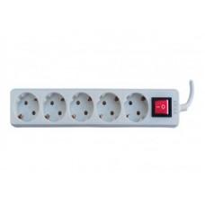 Prelungitor electric priza, 3m, 5 prize schuko, 10A, intrerupator, protectie
