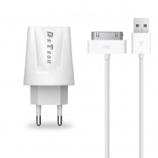 Charger and Data Cable for iPhone 2,3,4,g,s,ipad, Detech, 5V, 2A, fast charges, 30 pins, white