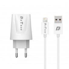 Incarcator si Cablu Date Lightning compatibil telefon iPhone Lightning 5/6/7/8, DeTech, 5V, 2.1A, 2100mAh, incarcare rapida, 2 x port USB