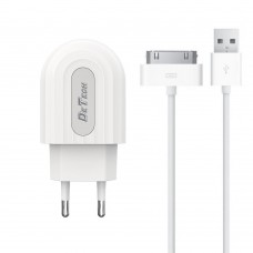 Incarcator si Cablu Date compatibil telefon iPhone 2,3,4,g,s, tableta ipad, Detech, 5V, 2.4A, incarcare rapida, mufa 30 pin, alb