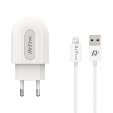 Incarcator si Cablu Date compatibil telefon iPhone Lightning 7/8/9/10, Detech, 5V, 2.4A, incarcare rapida, alb