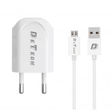 Incarcator si Cablu Date compatibil telefon micro USB, DeTech, 5V, 1A