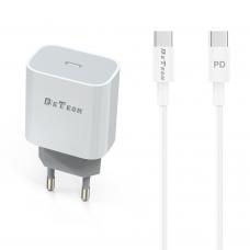 Incarcator si Cablu Date Type-C, DeTech,  Incarcare Rapida, 5V, 3.0A, 9V-2.0A; 12V-1.5A, compatibil telefoane mobile smart