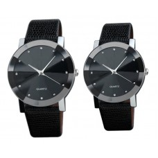 Women Watch  Active Lovers Black, for couples, analogue, adjustable ecological leather strap, black dial