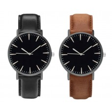 Men Watch Active Luxury Black / Brown, analogue, adjustable strap of ecological leather, black dial, for men, boys, gentlemen