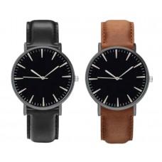 Ceas Unisex Active Luxury Negru / Maro, analogic, curea reglabila din piele ecologica, cadran negru, pentru barbati, baieti, domni, doamne, fete, femei