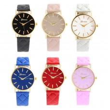 Ceas dama Active Geneva diverse culori, analogic, curea piele ecologica, cadran auriu, pentru fete, femei, domnisoare, doamne