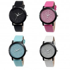 Ladies Watch Active Romantic, analog, black, leather strap