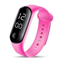 Ceas LED Silicone Active Sports Roz, digital: femei, copii, bratara reglabila