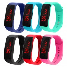 Silicone LED Sport watch Active Fun, digital, unisex, waterproof, adjustable bracelet, various colors