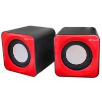 Boxe 2.0 Kisonli V310, 5W, stereo, alimentare usb, 1 x jack 3.5mm, negru/rosu/albastru