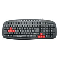 USB Multimedia Keyboard DeTech, 9 multimedia button, ergonomic, Black