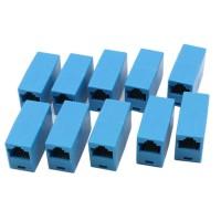 Set 10 Adaptor / Mufa de prelungire cablu retea UTP / FTP / RJ45,  Active, mama-mama, prelungitor, albastru