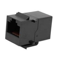 Adaptor / Mufa de prelungire cablu retea cat 6, UTP / FTP / RJ45, Active, mama-mama, prelungitor cablu internet cat.6 gigabit coupler, contacte aurite, negru