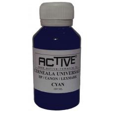Cerneala refill Universala ACTIVE, 100 ml, CYAN / Albastru, compatibila cu cartuse inkjet HP, Lexmark, Canon