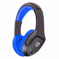 Casti audio bluetooth Ovleng MX333 negru-albastru, difuzor 40mm, microfon, slot sd card, radio fm, baterie 200mAh, distanta maxima 10m, wireless, compatibil telefoane mobile