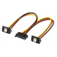 Cablu alimentare s-ata - 2 x SATA 90 grade, 20cm, multiplicator s-ata