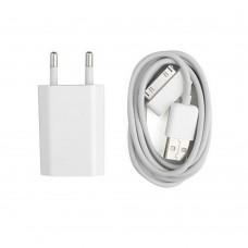 Incarcator si Cablu Date compatibil telefon iPhone 2/3/4/g/s/ipad, Active, 5V, 1A, mufa 30 pin, alb