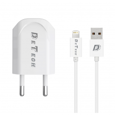 Charger and Data Cable for iPhone 5/6/7/8/SE/X, DeTech, 5V, 1A, 1000mAh