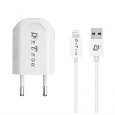Incarcator si Cablu Date compatibil telefon iPhone 5/6/7/8/SE/X, DeTech, 5V, 1A, 1000mAh